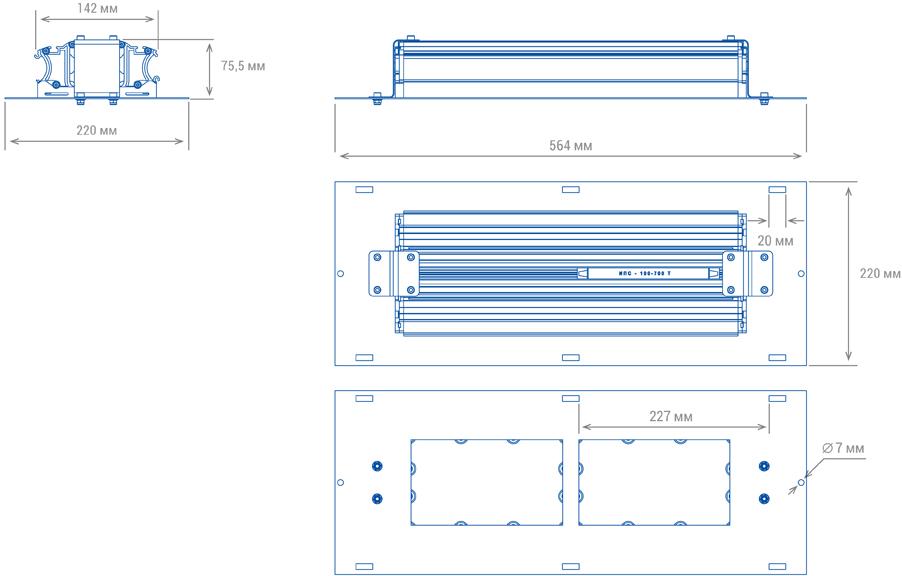 Светильник для АЗС TL-PROM AZS 100 PR PLUS (Д) (Код: УТ000002640), размеры